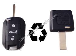 Citroen - Citroen 3 Buttons Modified Flip Key Shell