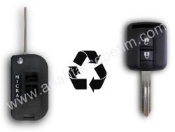 Nissan - Nissan Micra 2 Buttons Modified Flip Key Shell