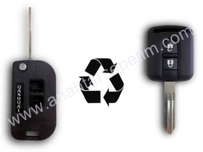 Nissan - Nissan Qashqai 2 Buttons Modified Flip Key Shell