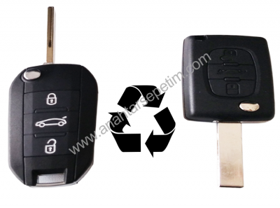 Peugeot - Peugeot 3 Buttons Modified Flip Key Shell